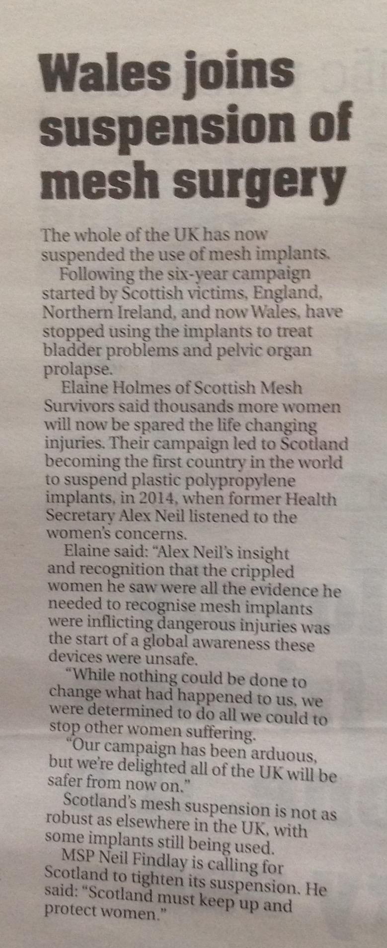 Scottish MESH Survivors, News and Media Scotland, England